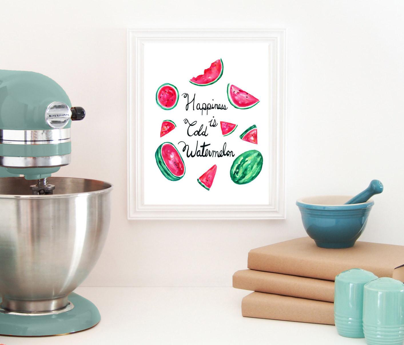 Watercolor Watermelon Melon Print Kitchen Wall