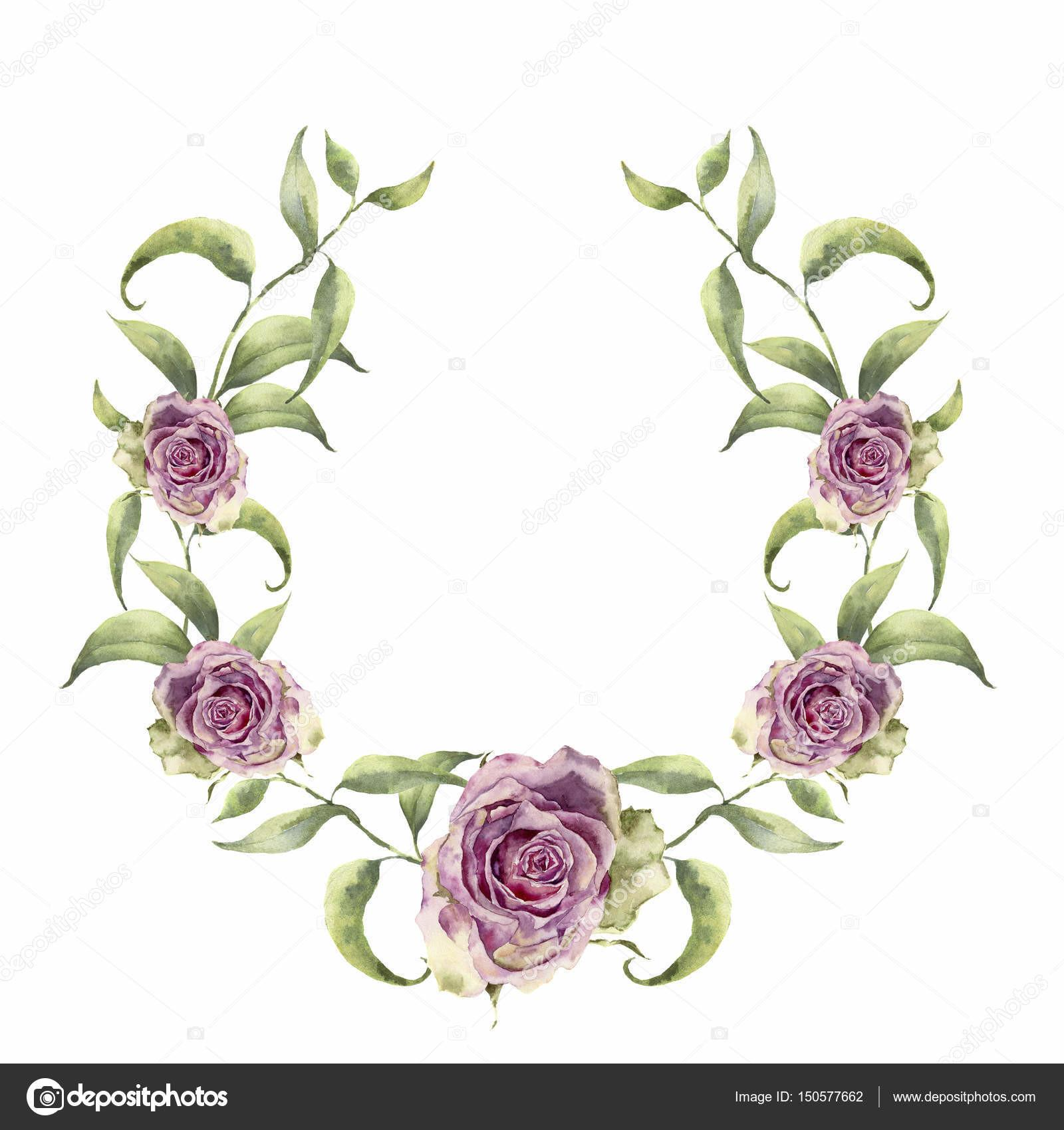 Watercolor Wreath Greenery Branch Roses Hand