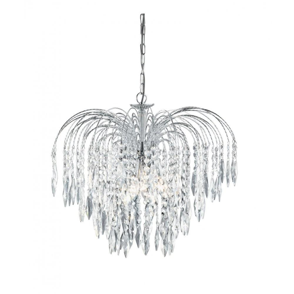 Waterfall Chrome Crystal Cascading Chandelier Chain