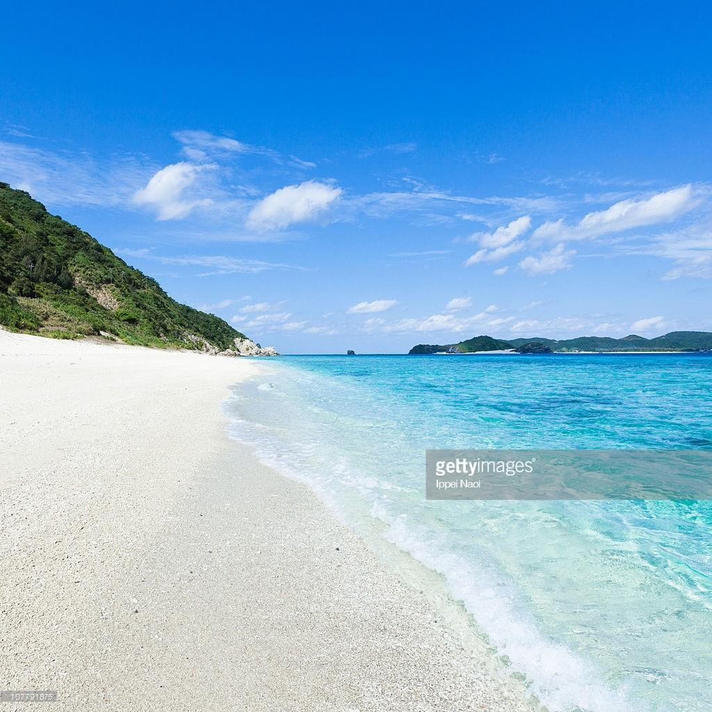 Wave Lapping White Sand Tropical Okinawa Beach Stock