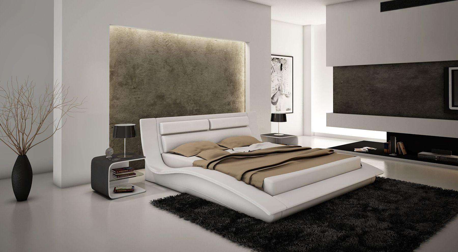 Wave White Queen Bed Modern Bedrooms Beds