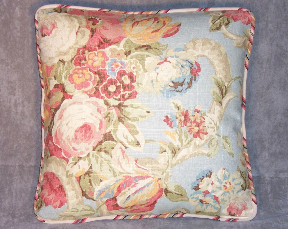 Waverly Spring Bling Floral Stripe Throw Pillow