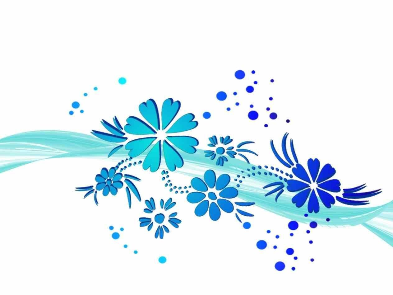 Wawe Blue Flowers Clipart Ppt Your