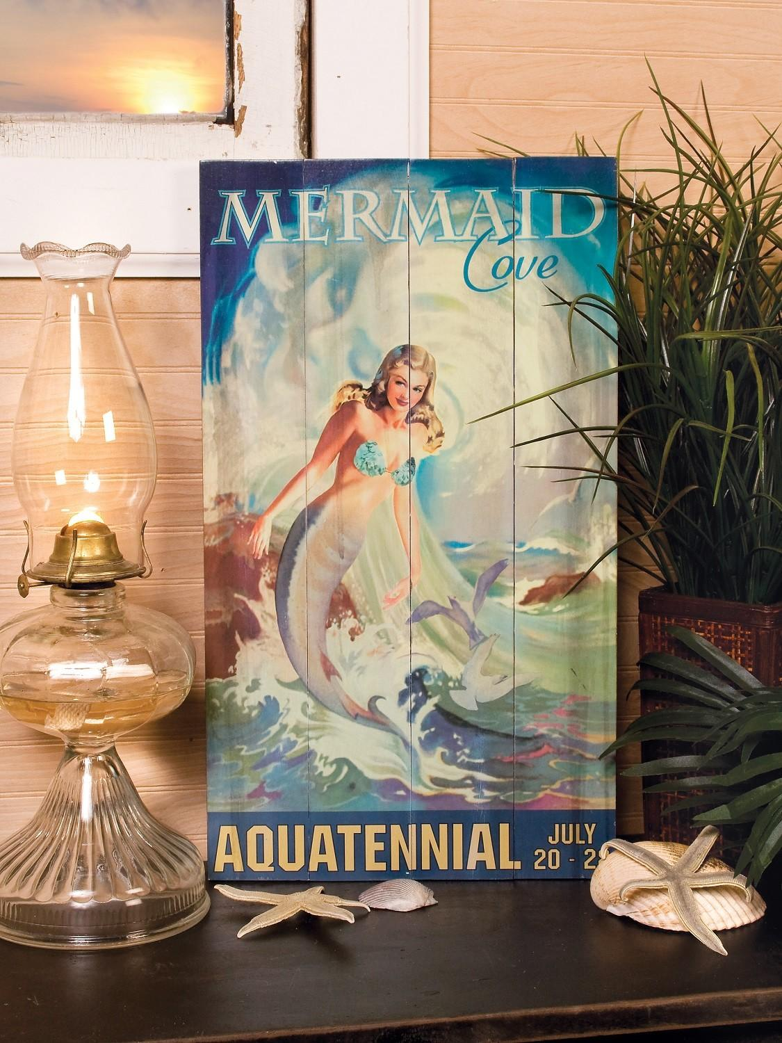 Weathered Vintage Mermaid Cove Sign Tropical Plaque