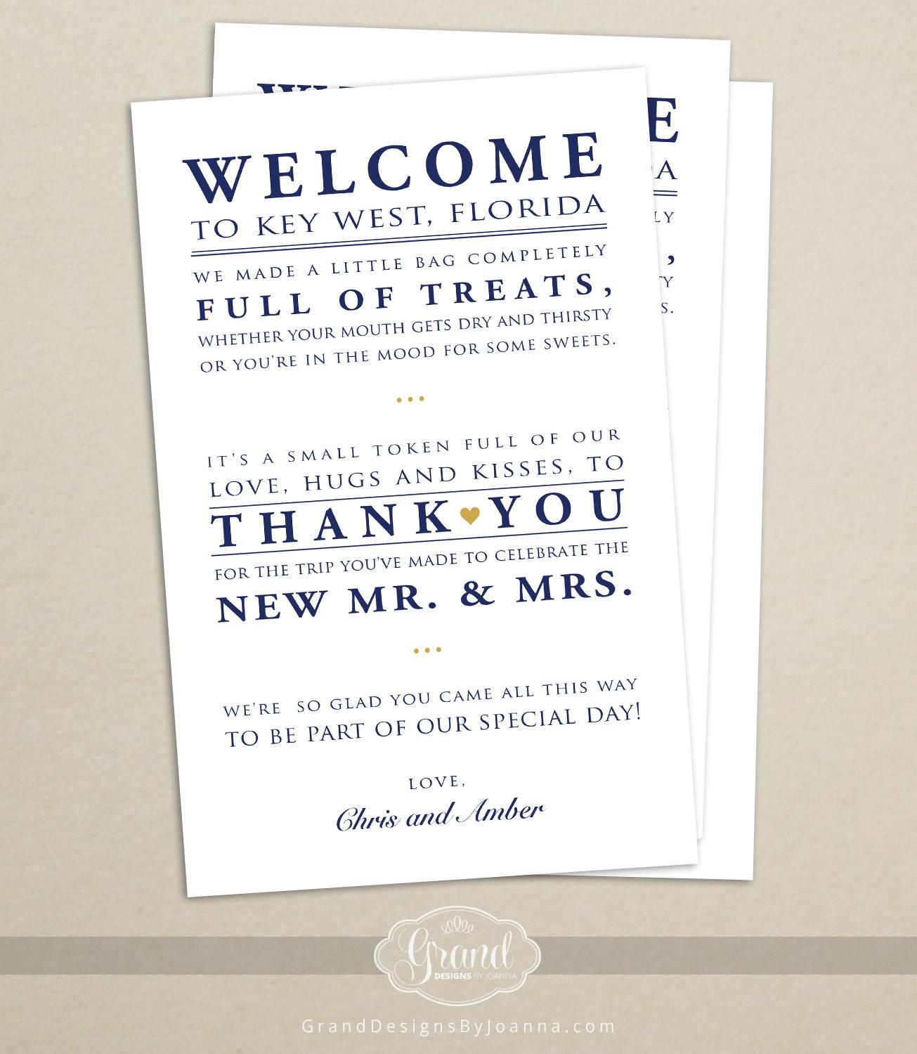 Wedding Hotel Welcome Bag Letter Note