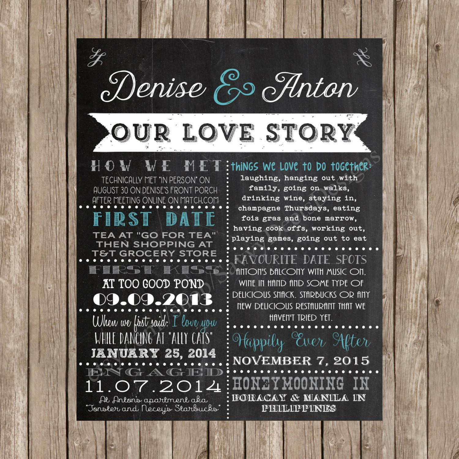 Wedding Love Story Sign Our Chalkboard
