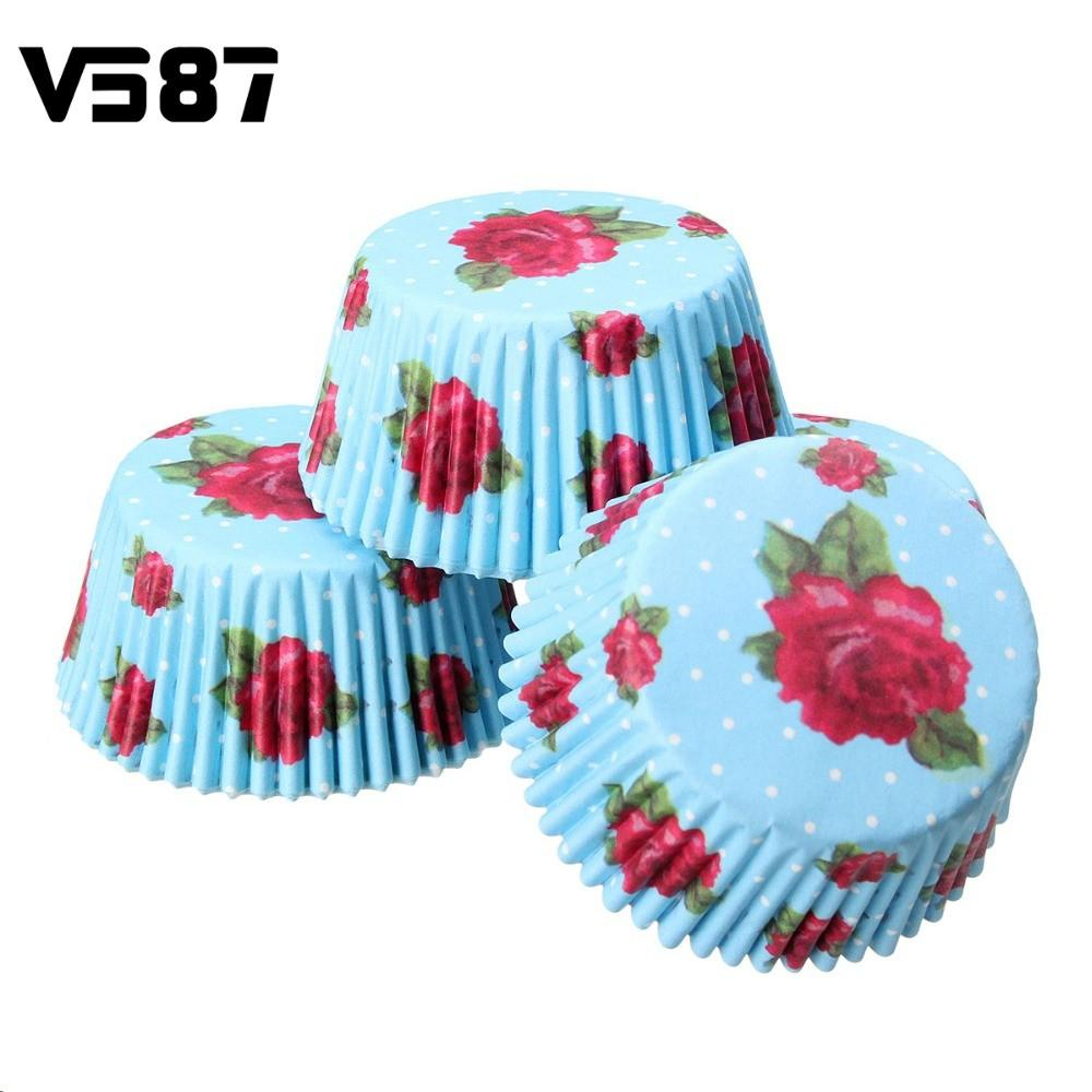 Wedding Party Mini Cake Muffin Cases Baking Cups Rose