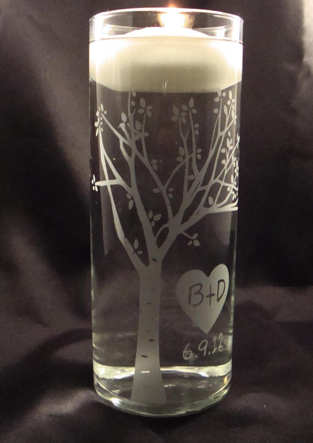 Wedding Unity Candle Vase Rustic Blooming Winstonglassworks