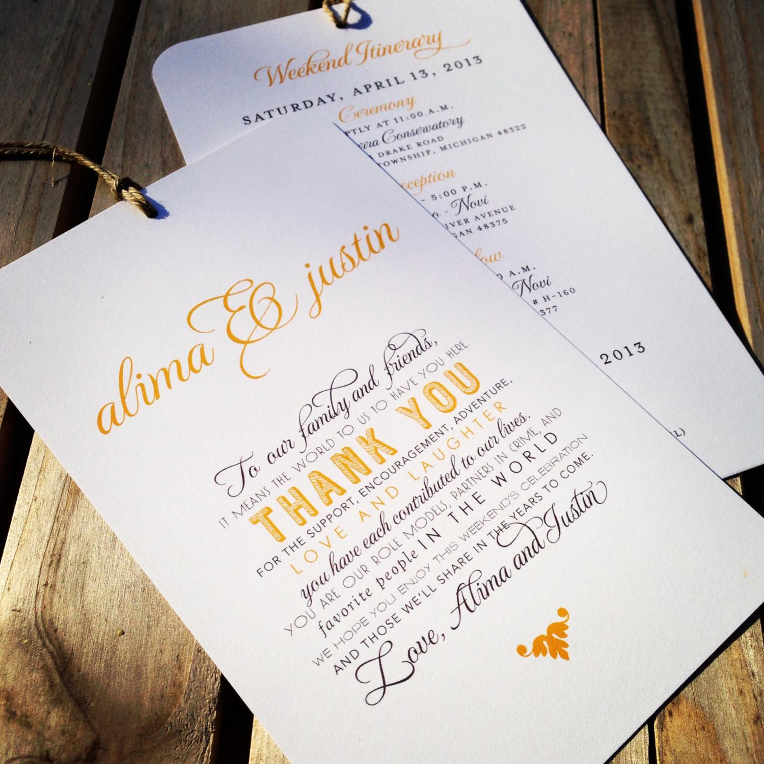 Wedding Welcome Itinerary Hang Tag Out Town Guest
