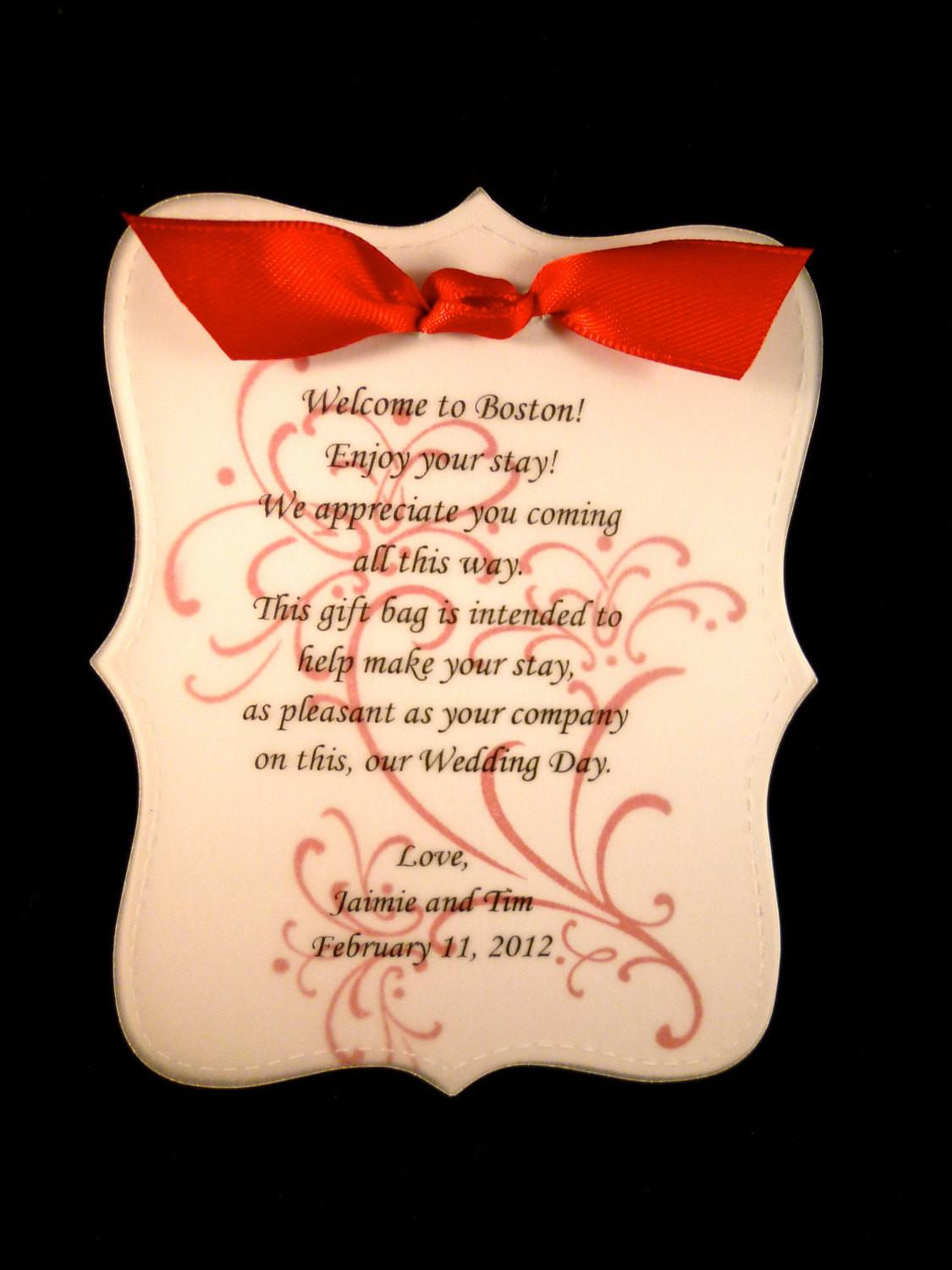 Wedding Welcome Note Sample Sweet Design