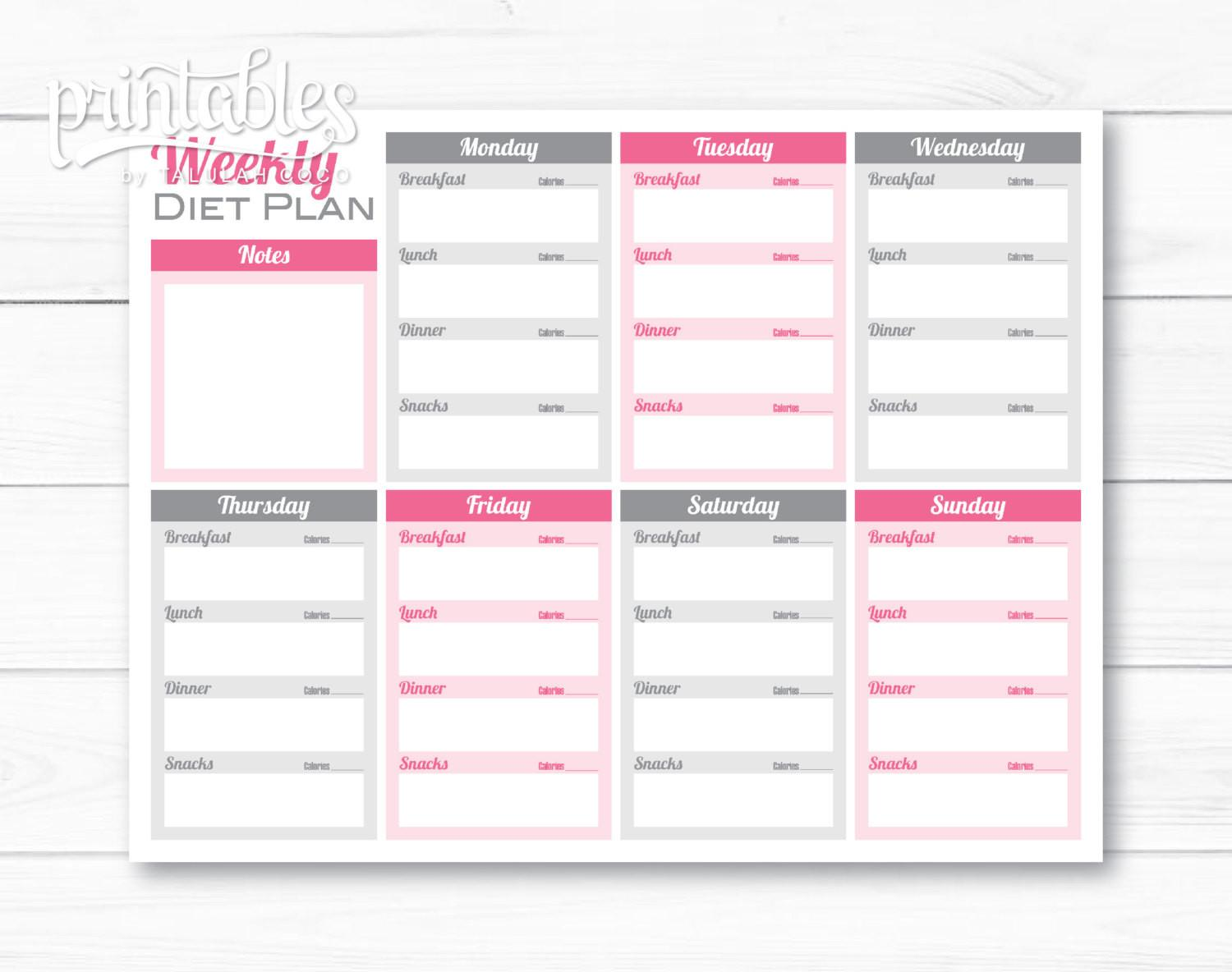 Weekly Meal Planner Pdf Editable Weight