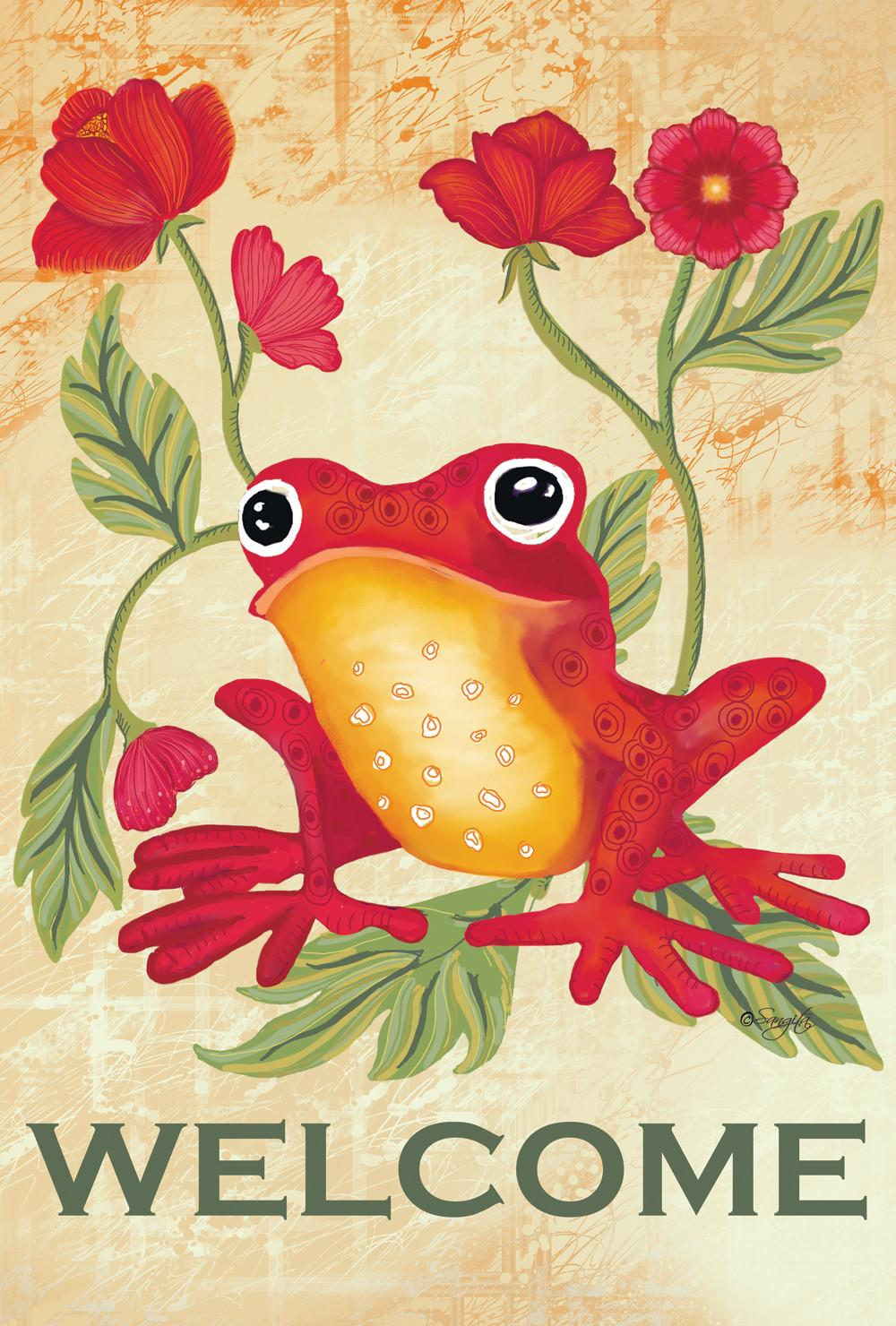 Welcome Frog Flag Mad Gardening