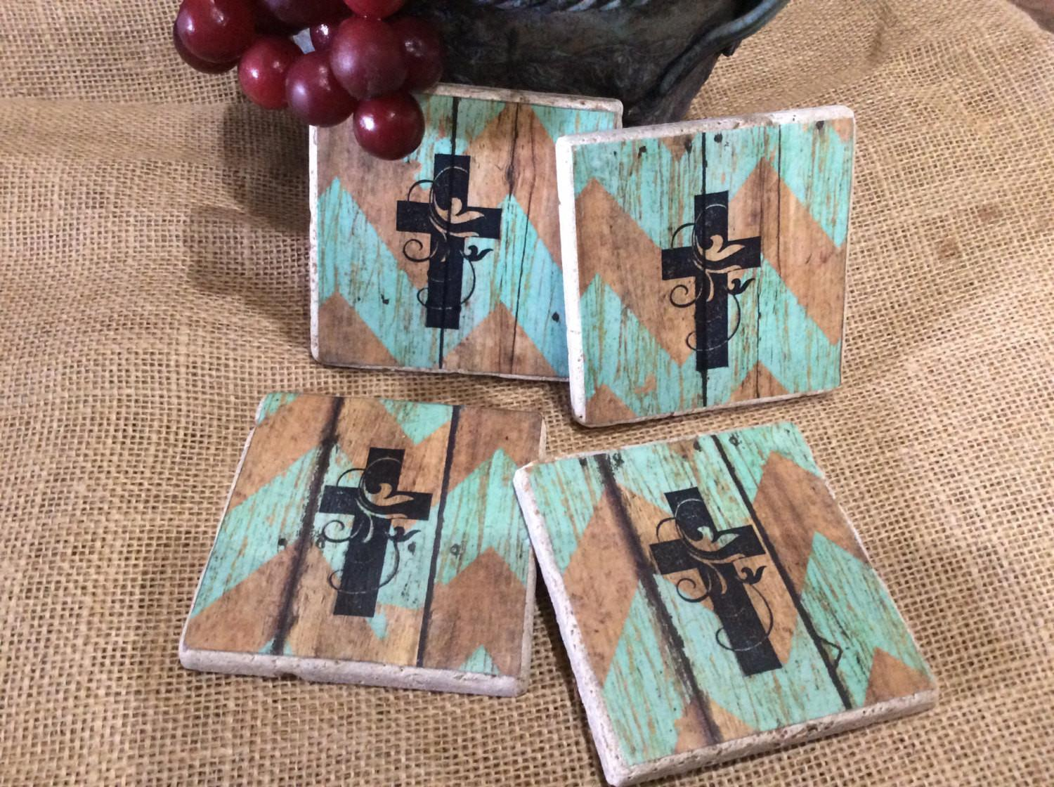 Western Cross Themed Drink Coasters Rustic Cowgirl