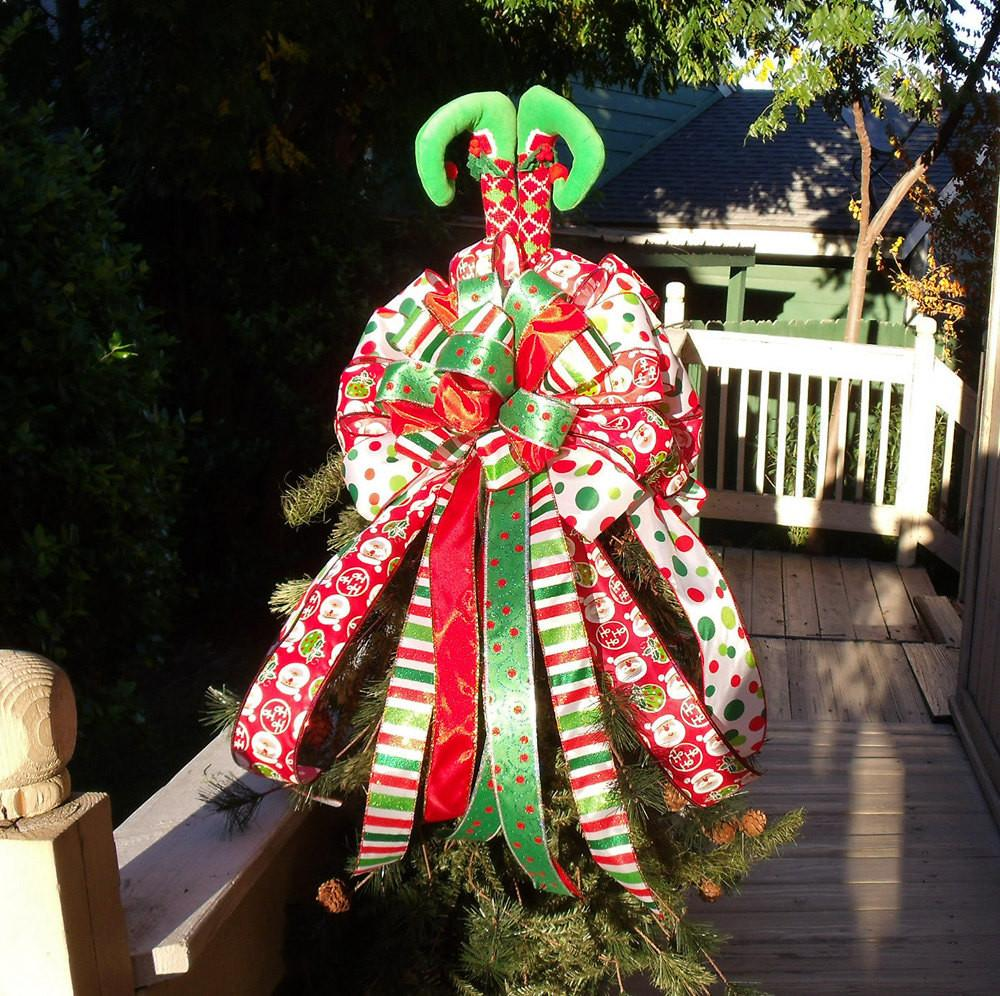 Whimsical Christmas Tree Topper Bow Elf Legs