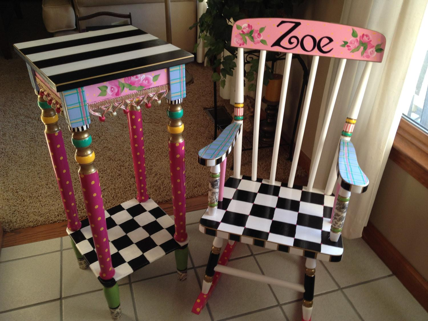 Whimsical Painted Furniture Rocking Chair