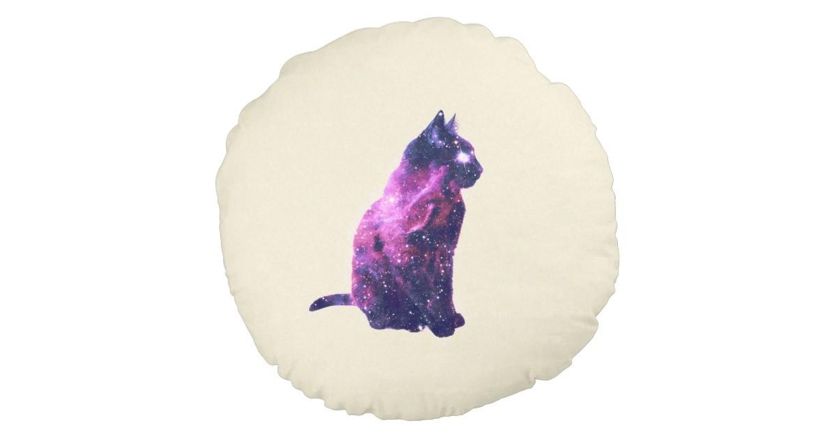 Whimsical Purple Nebula Cat Pink Galaxy Stars Round Pillow
