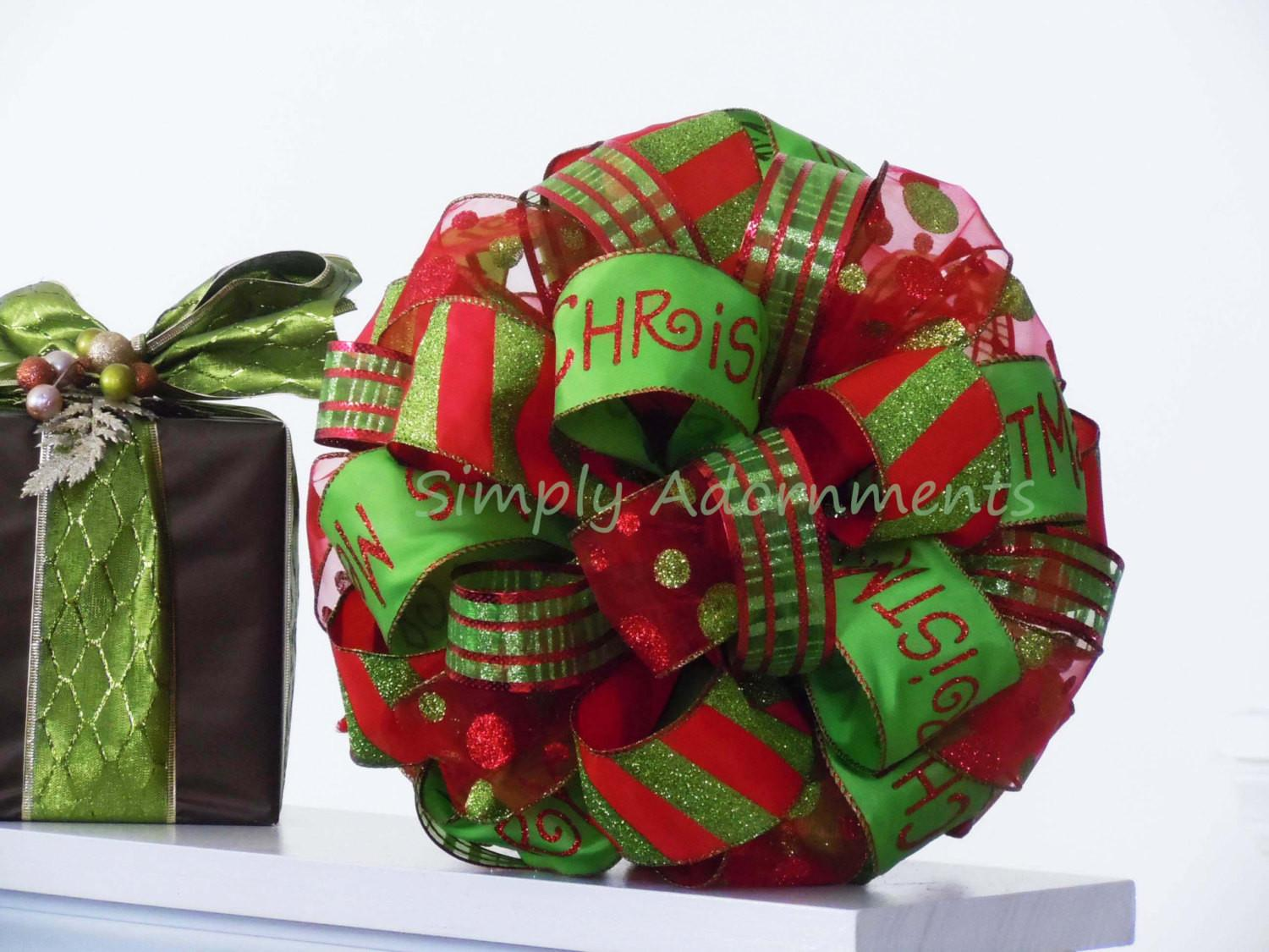 Whimsical Red Green Christmas Bow Sparkling Lime