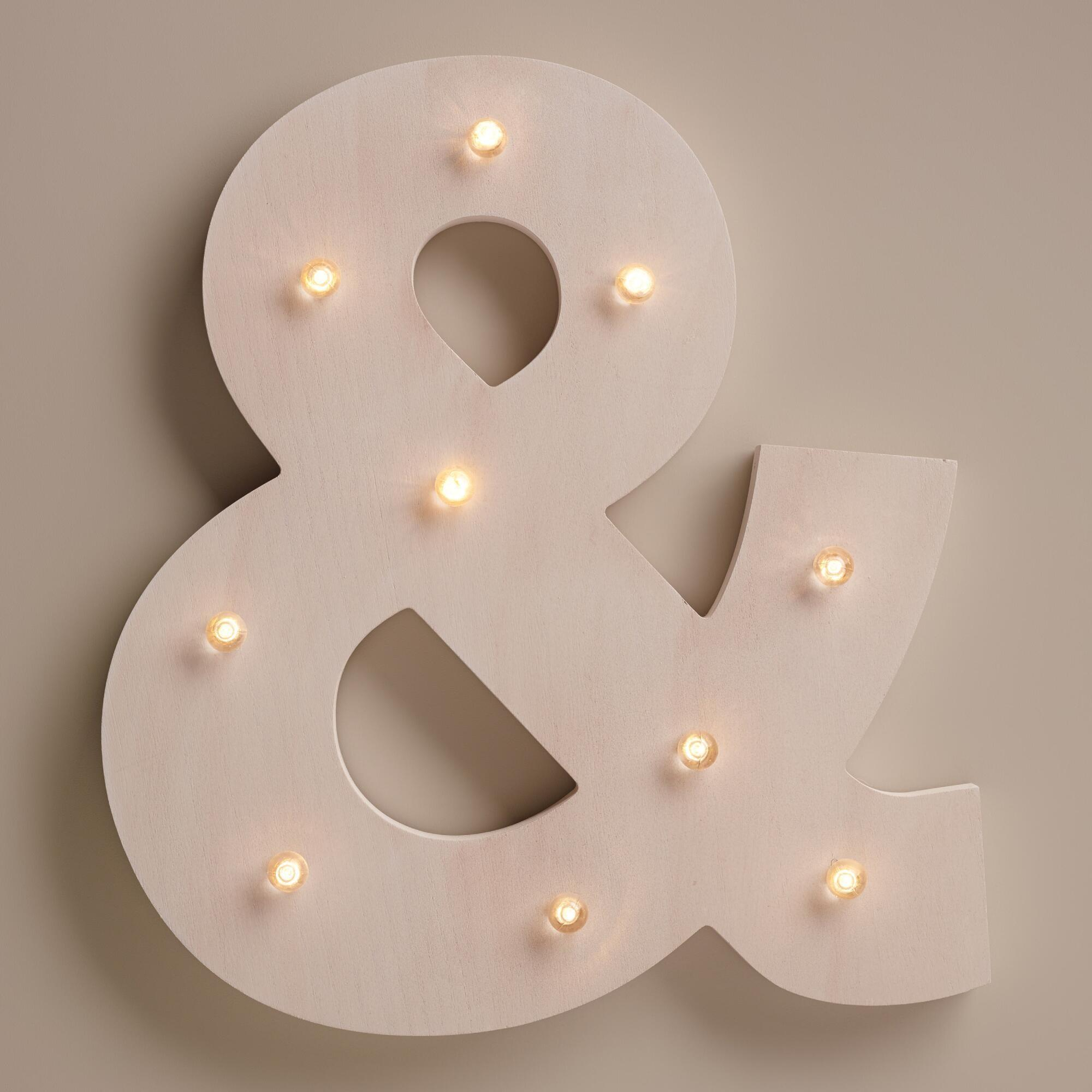 White Ampersand Led Battery Operated Marquee Light World