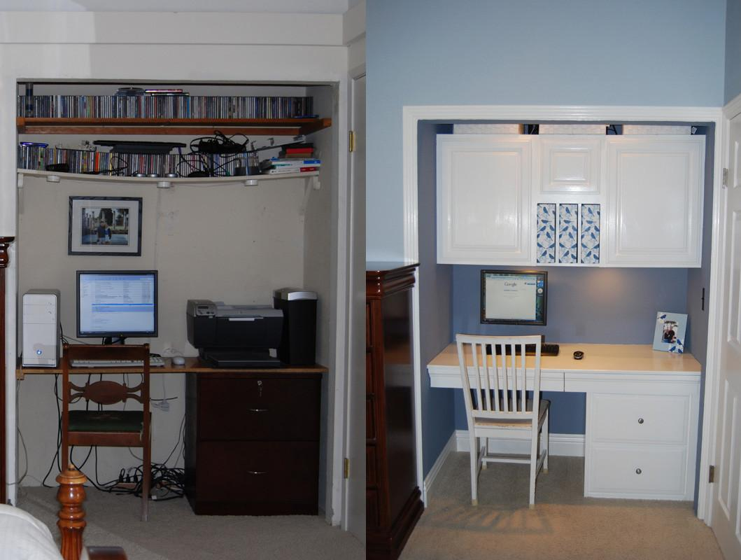 White Blue Office Closet Makeover
