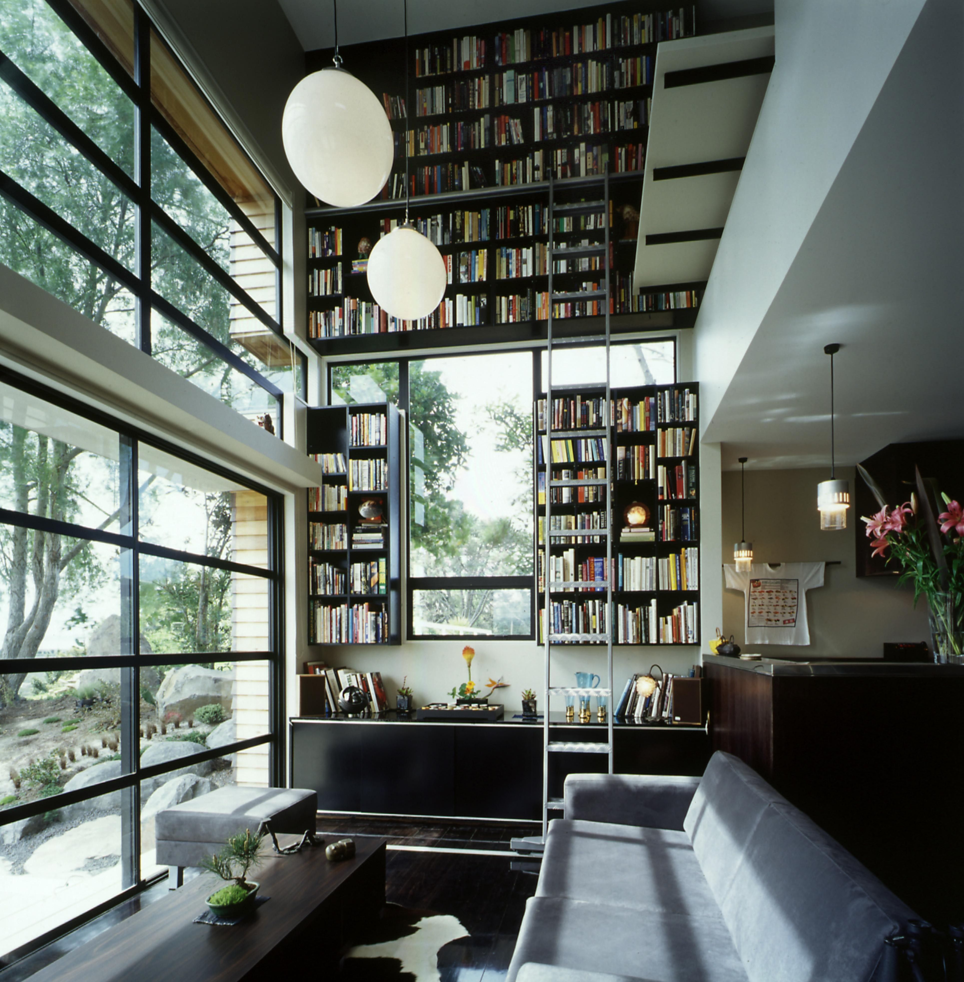 White Bookcase Modern Home Living Room Library Idea