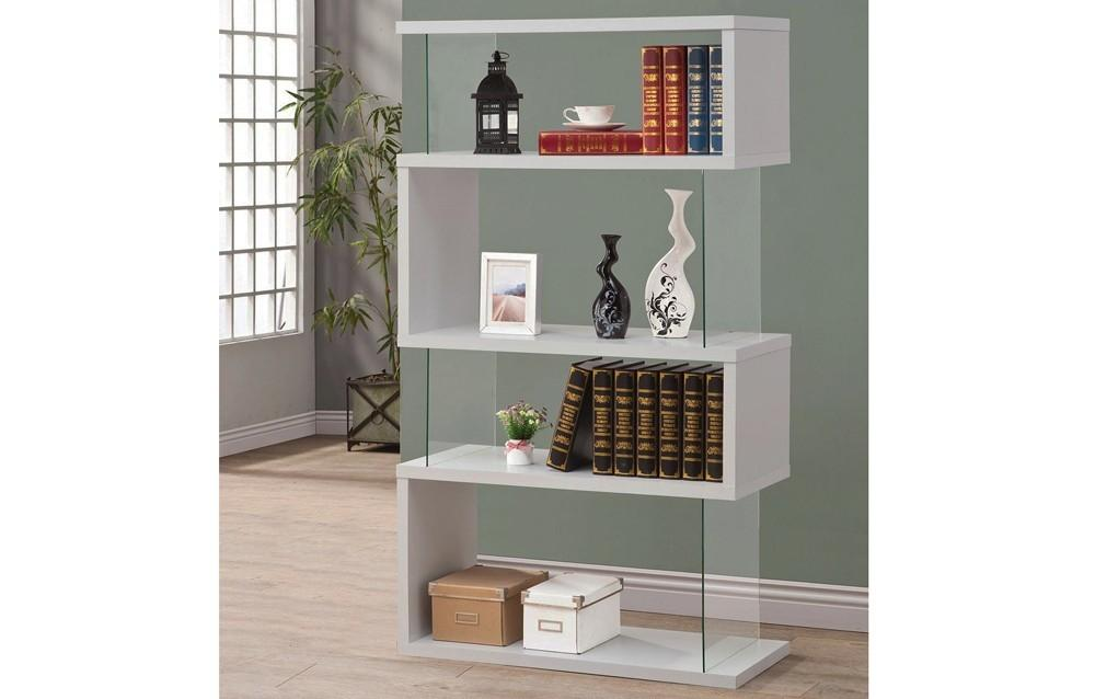 White Bookshelf Modern Ellise Bookcase