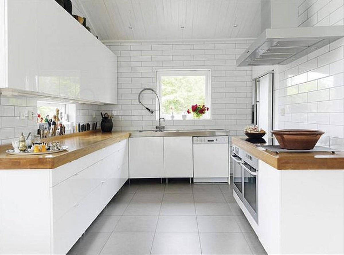 White Brick Tiles Interior Design Contemporary Tile