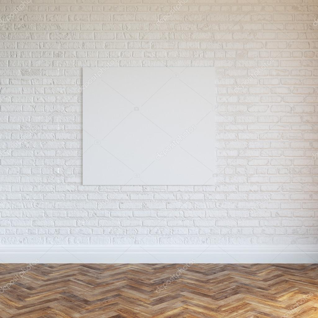 White Brick Wall Interior Design Blank Frame Stock
