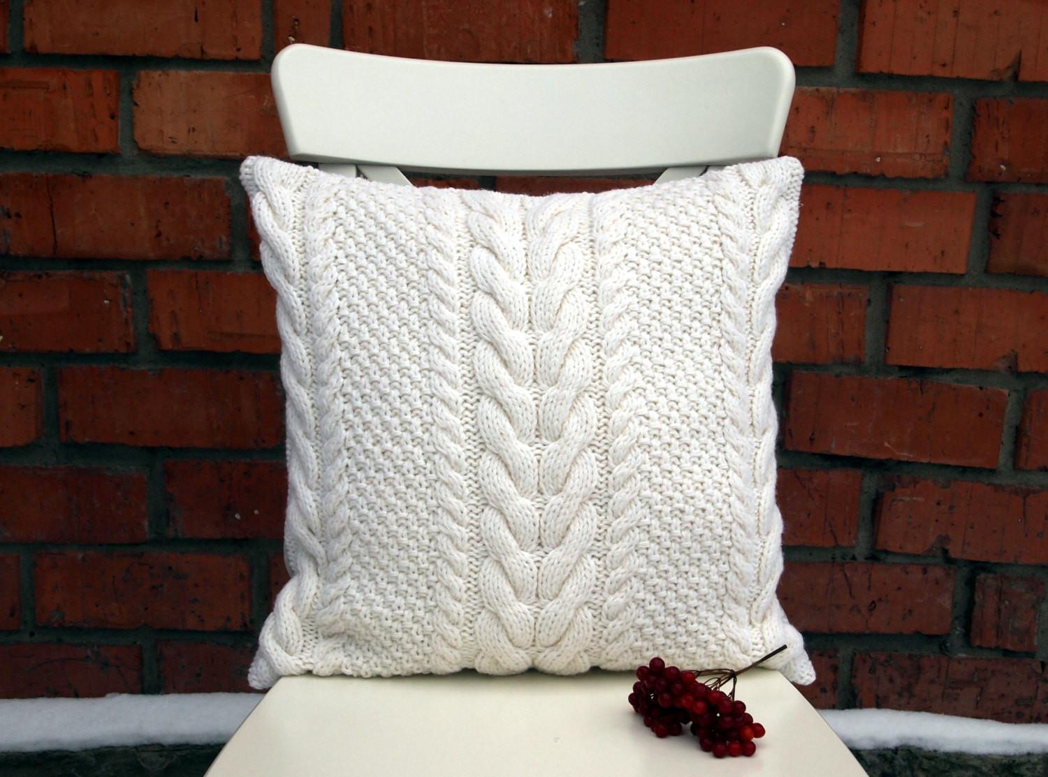 White Cable Knit Pillow Cover Inches