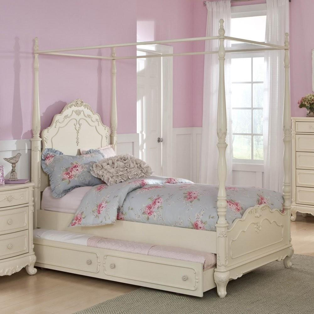 White Canopy Bed Trundle Sears