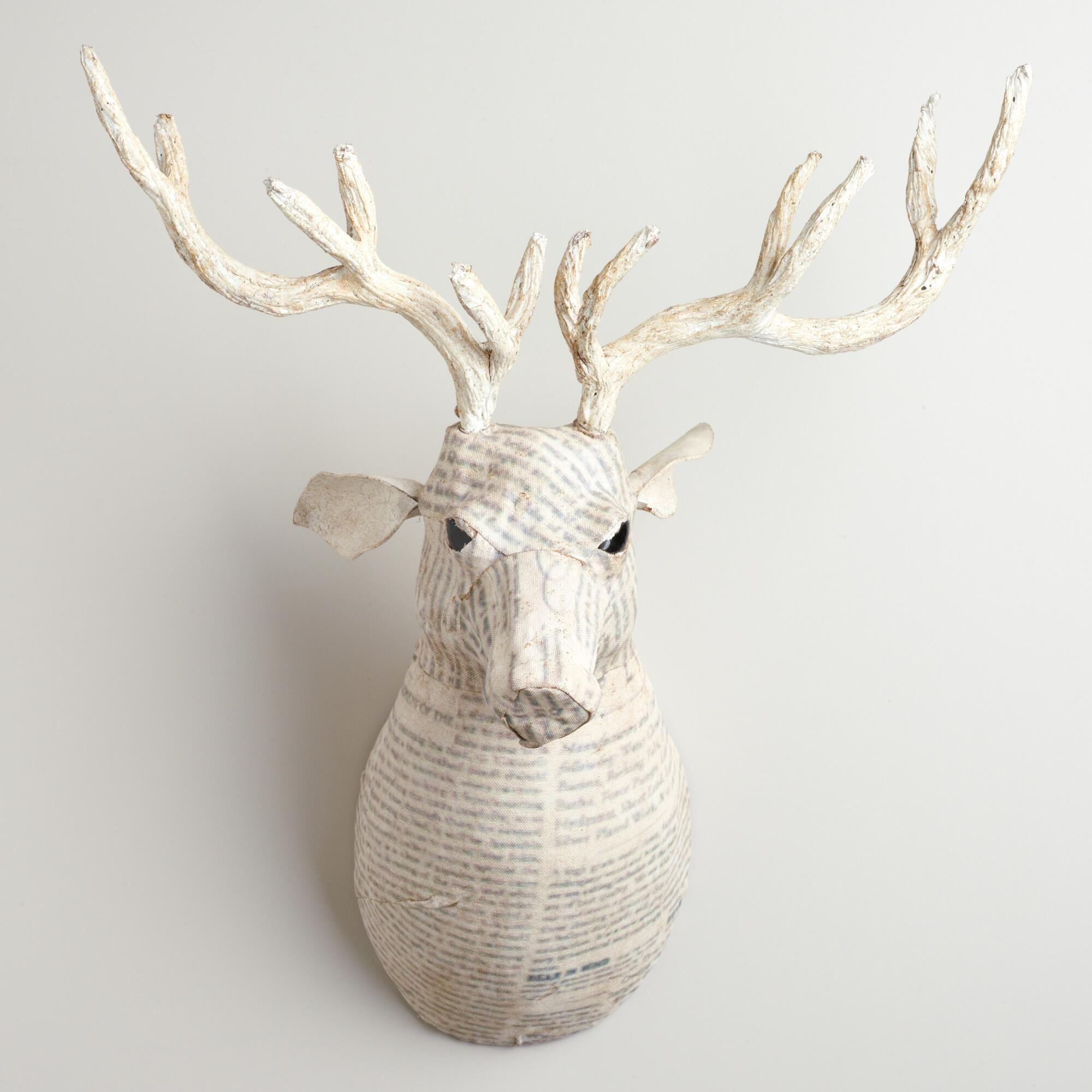 White Canvas Reindeer Bust World Market