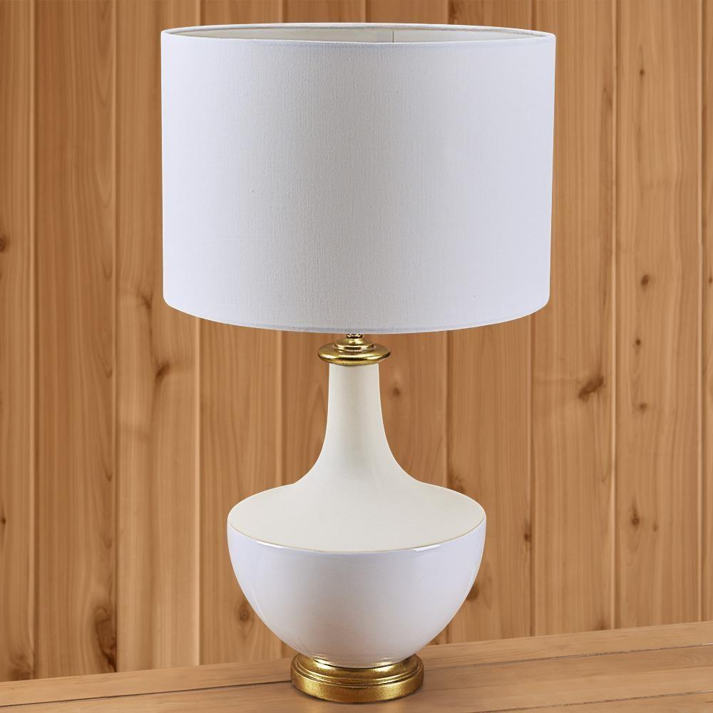 White Ceramic Table Lamp Gold Accents Nines
