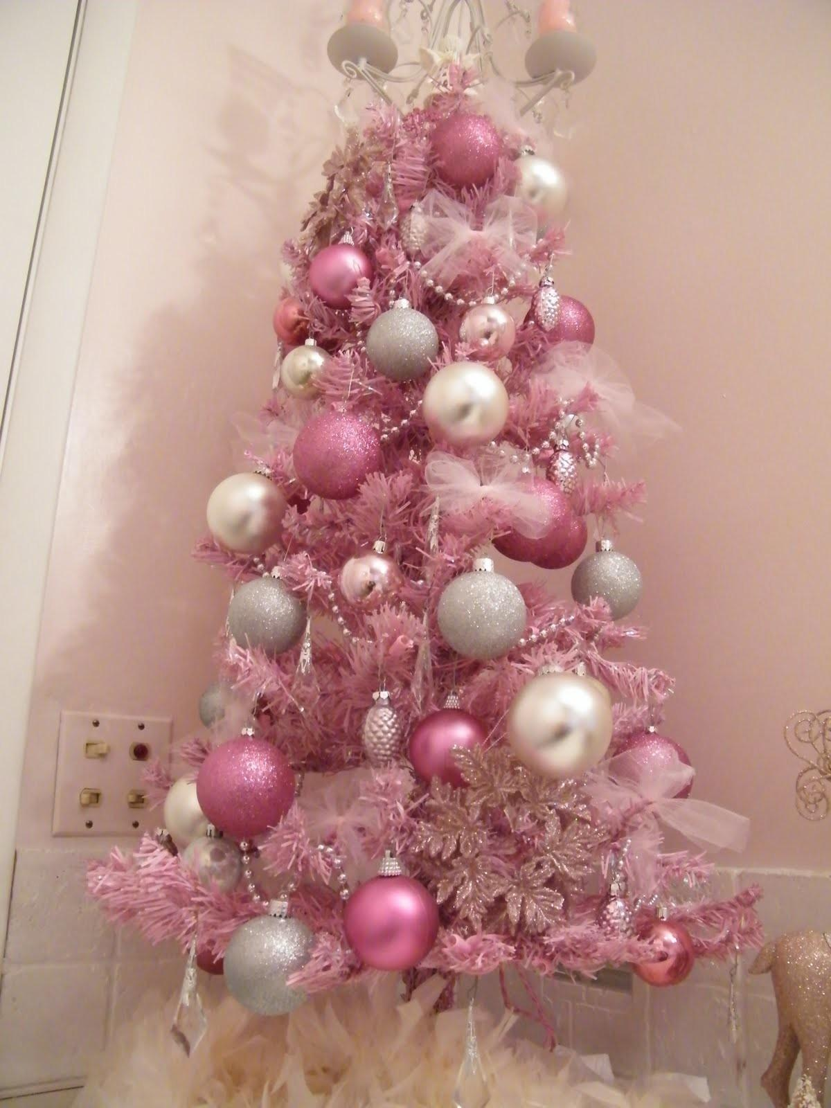 White Christmas Tree Pink Decorations Bedroom
