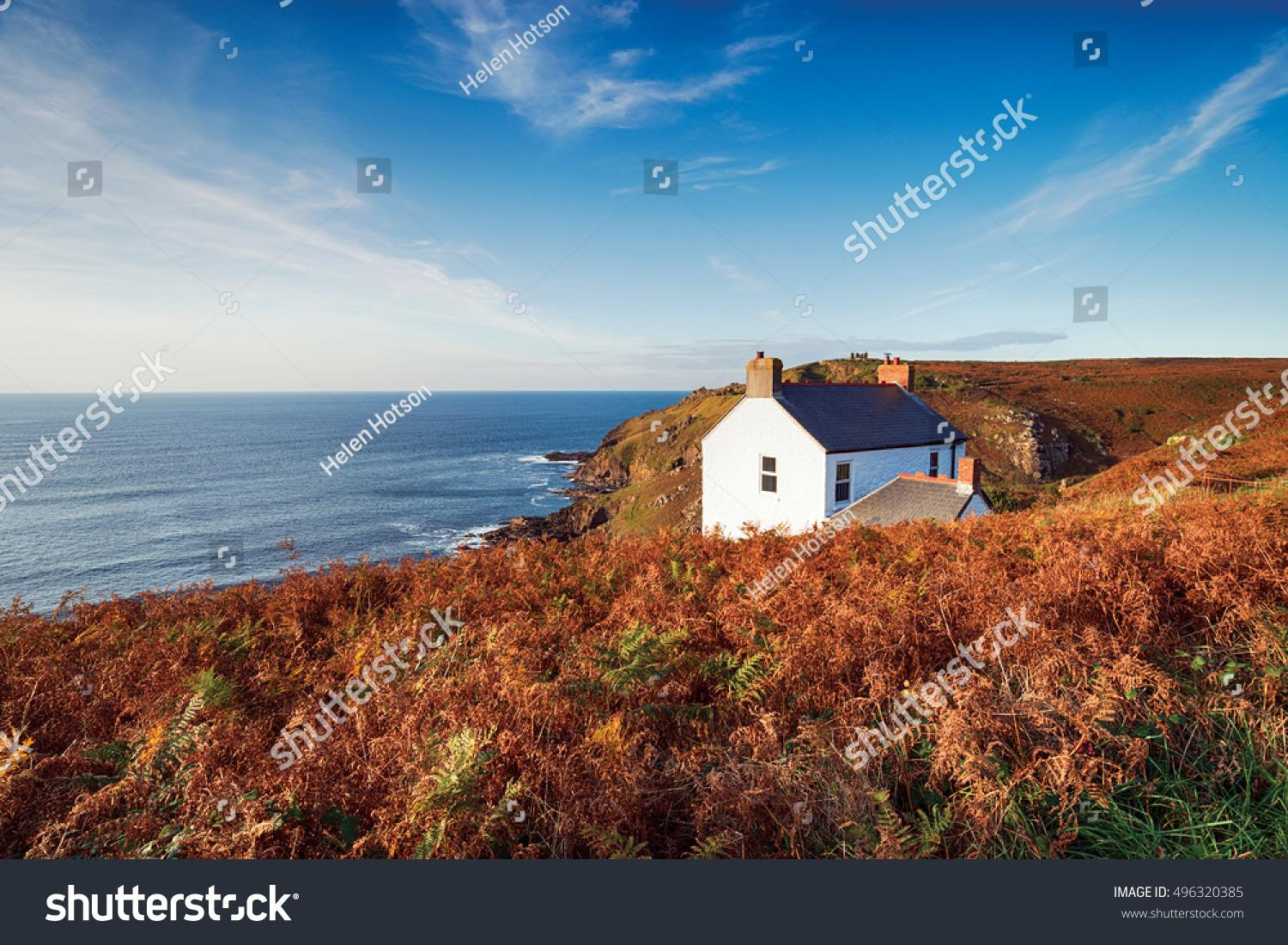 White Cottage Cliffs Cape Cornwall Stock