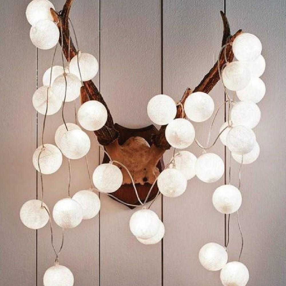 White Cotton Ball Fairy String Light Christmas Holiday