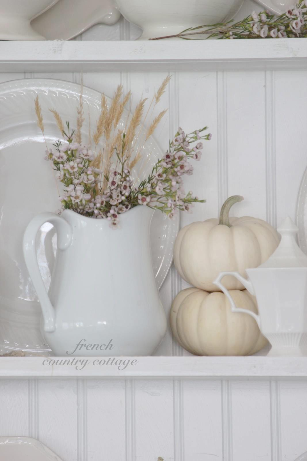 White Dishes Dressed Fall French Country Cottage