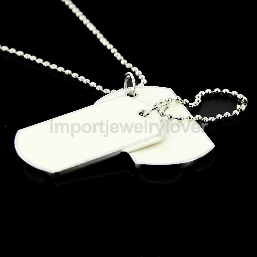 White Double Blank Military Dog Tag Pendant Chain Diy