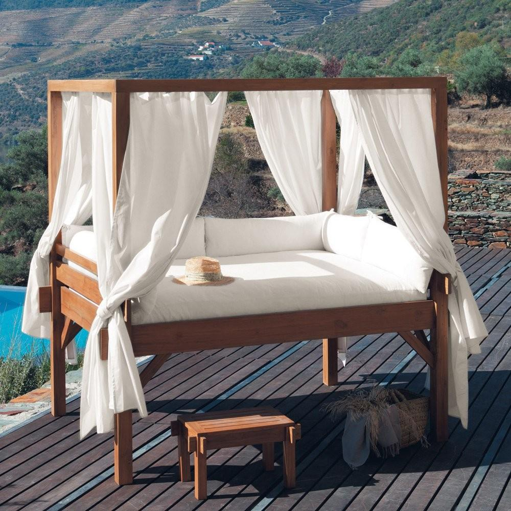 White Drapes Outdoor Canopy Bed Wooden Deck Stool