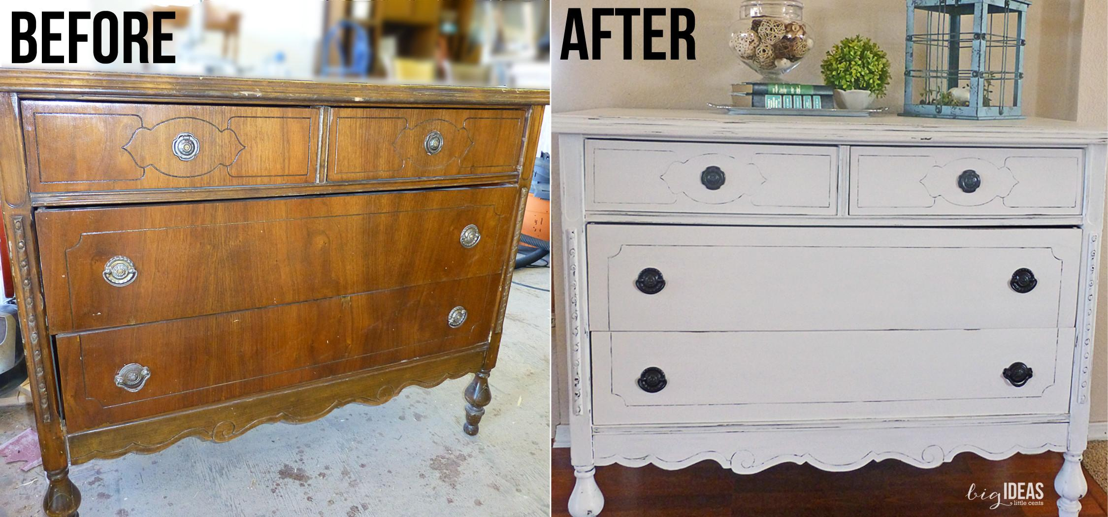 White Dresser Redo Homemade Chalk Paint Beginner