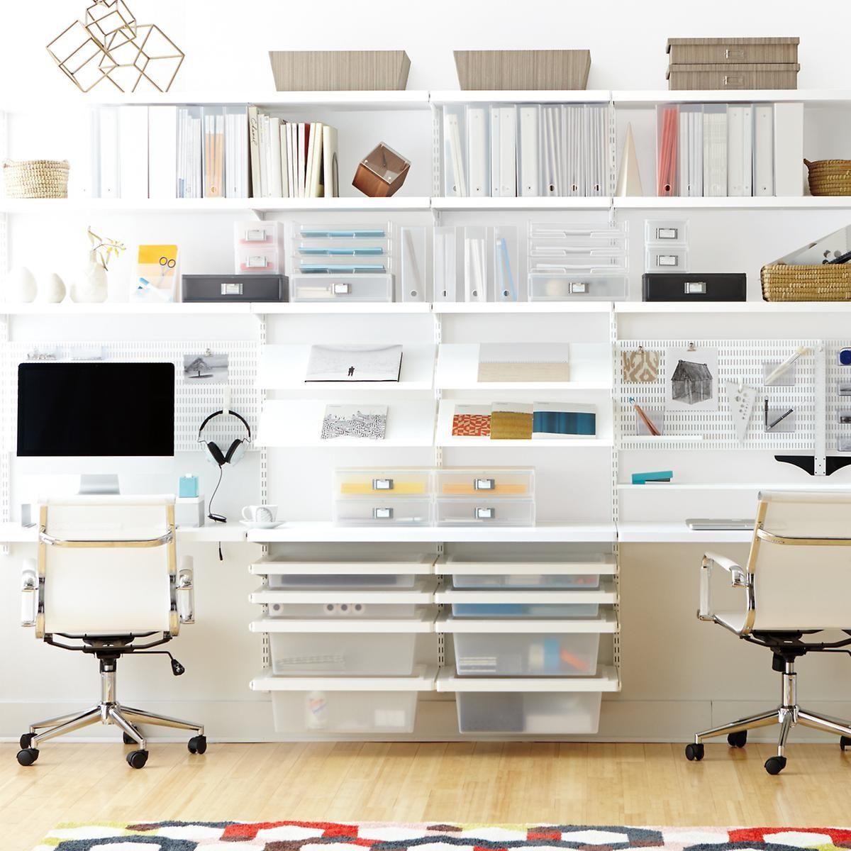 White Elfa Cor Home Office Container Store