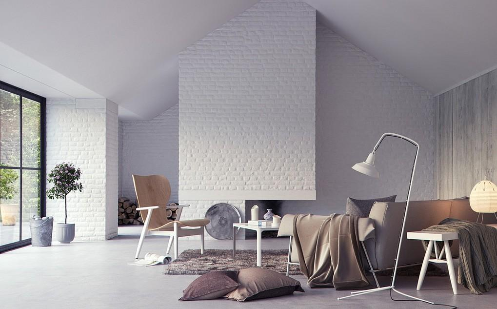 White Exposed Brick Interior Wall Render Design