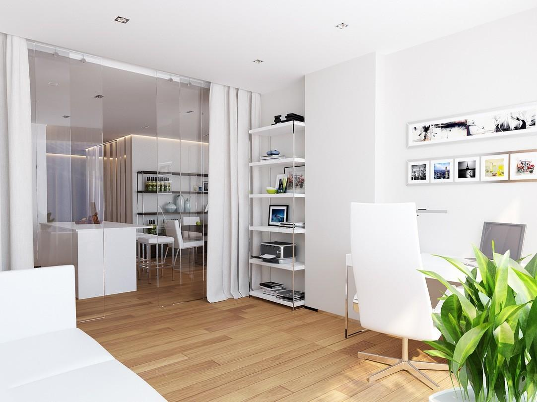 White Home Office Space Interior Design Ideas