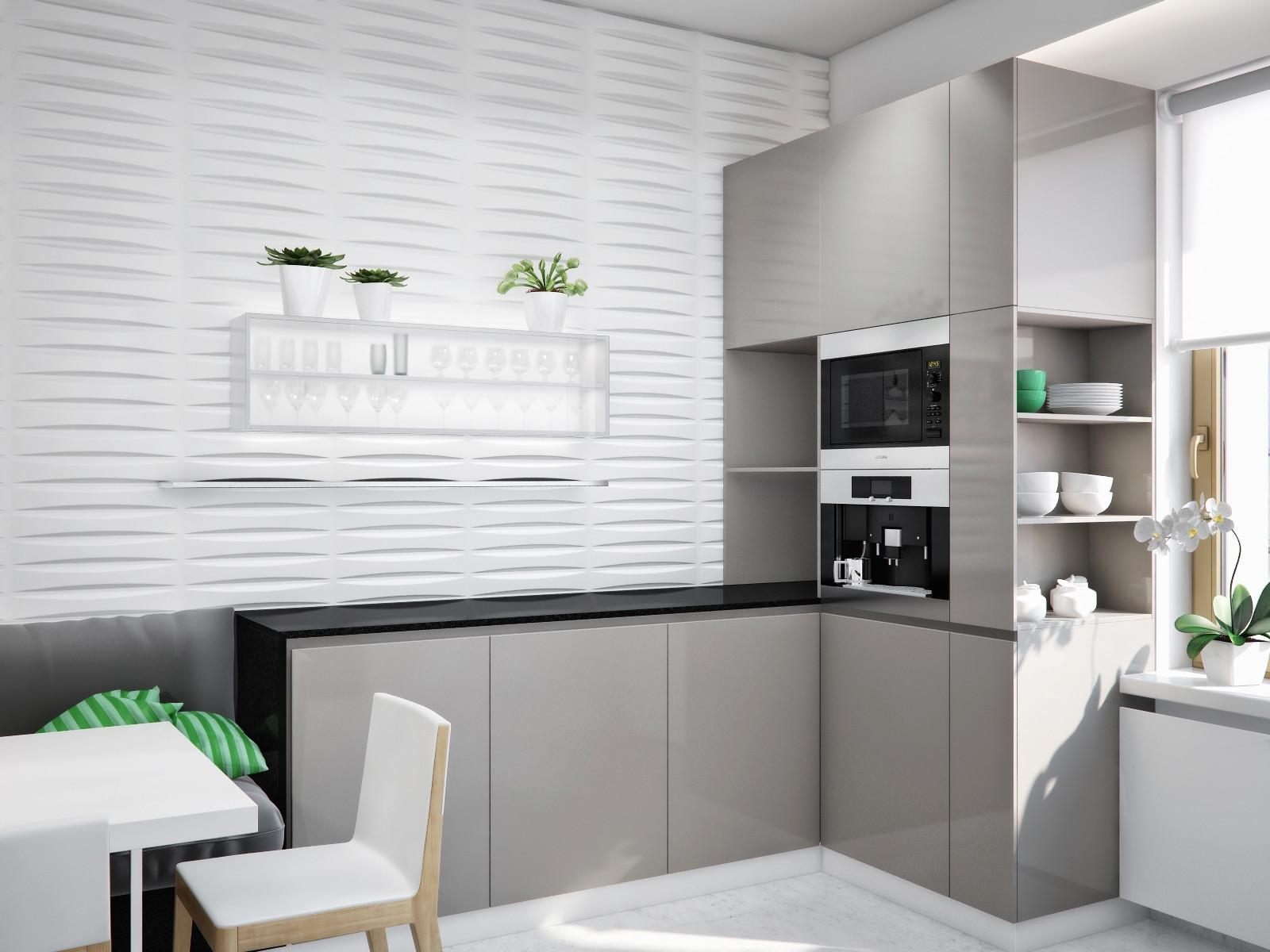 White Kitchen Gray Units Black Worktop Interior Design
