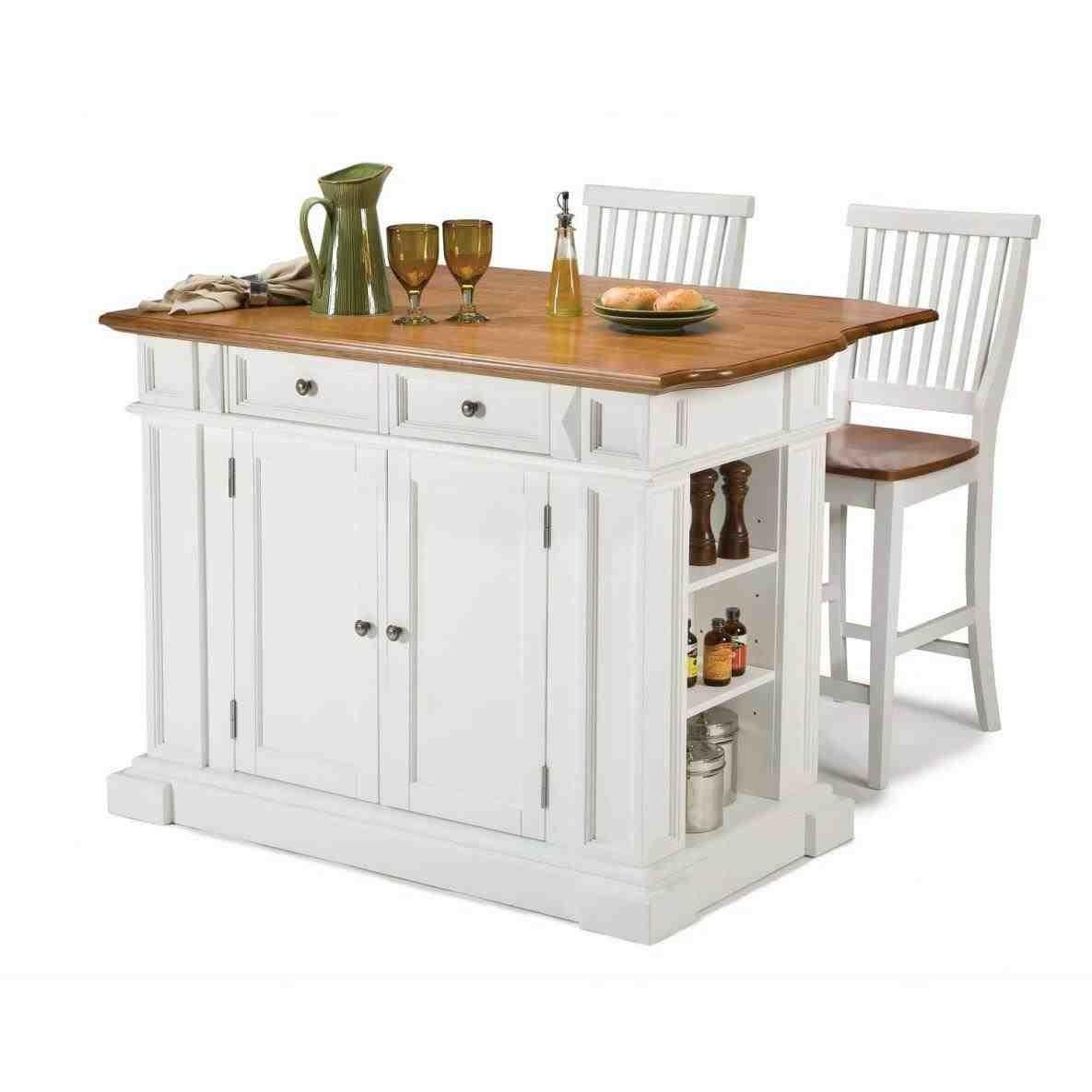 White Kitchen Island Stainless Steel Top