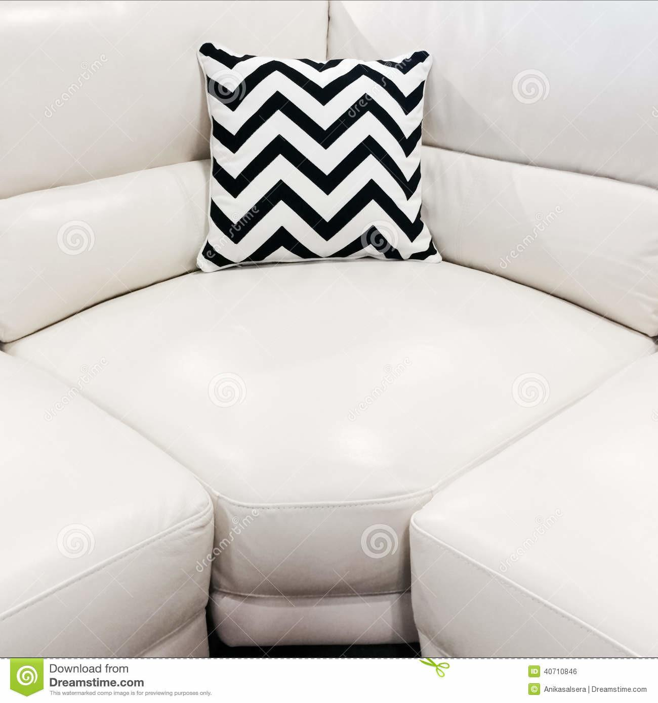 White Leather Sofa Decorative Cushion Stock