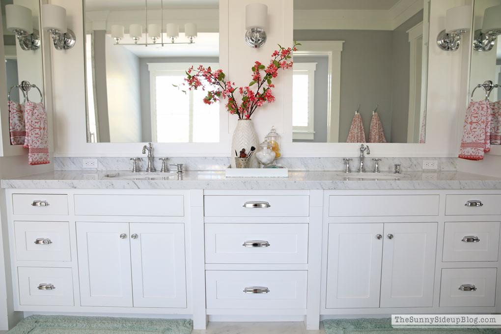 White Master Bathroom Ready Spring Sunny Side