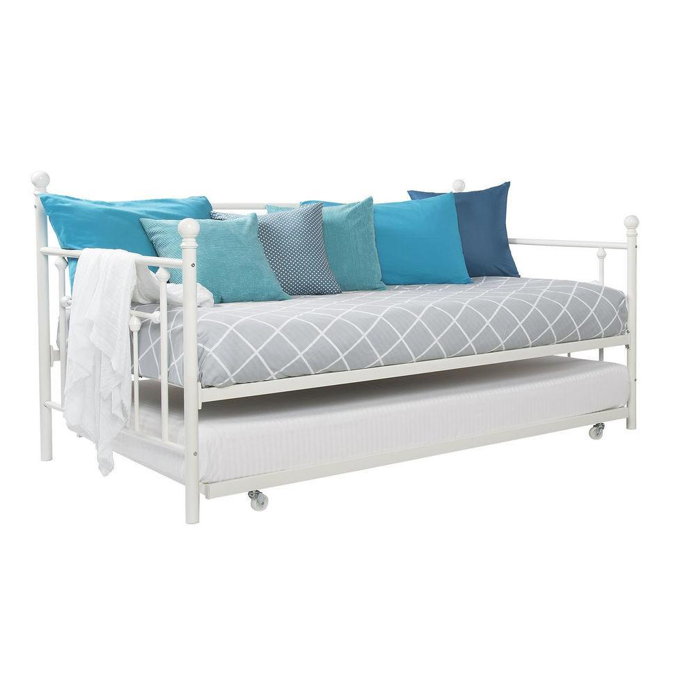 White Metal Bed Day Twin Pull Out Trundle Kids