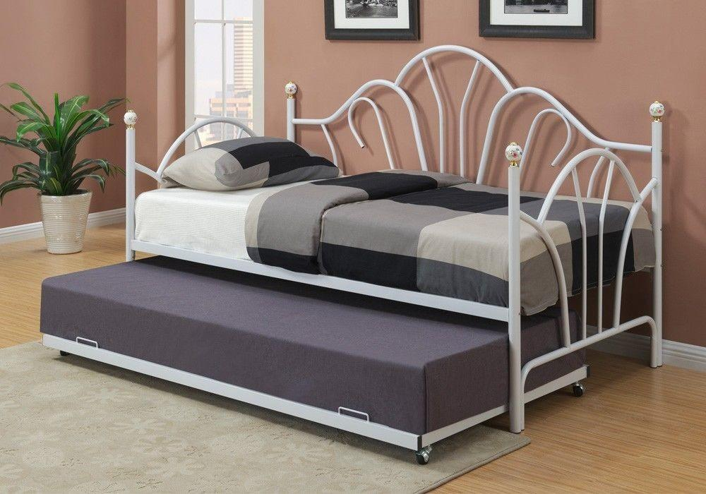 White Metal Twin Daybed Day Bed Guest Room Couch Optional