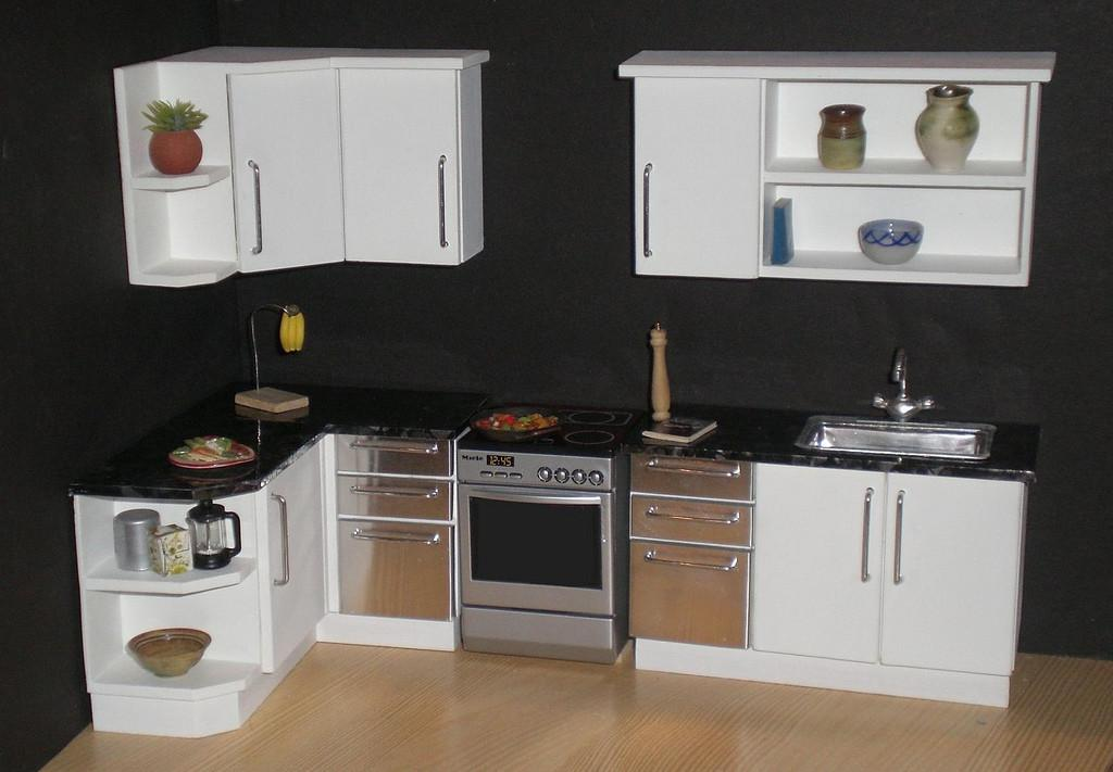 White Modern 12th Scale Dollhouse Kitchen