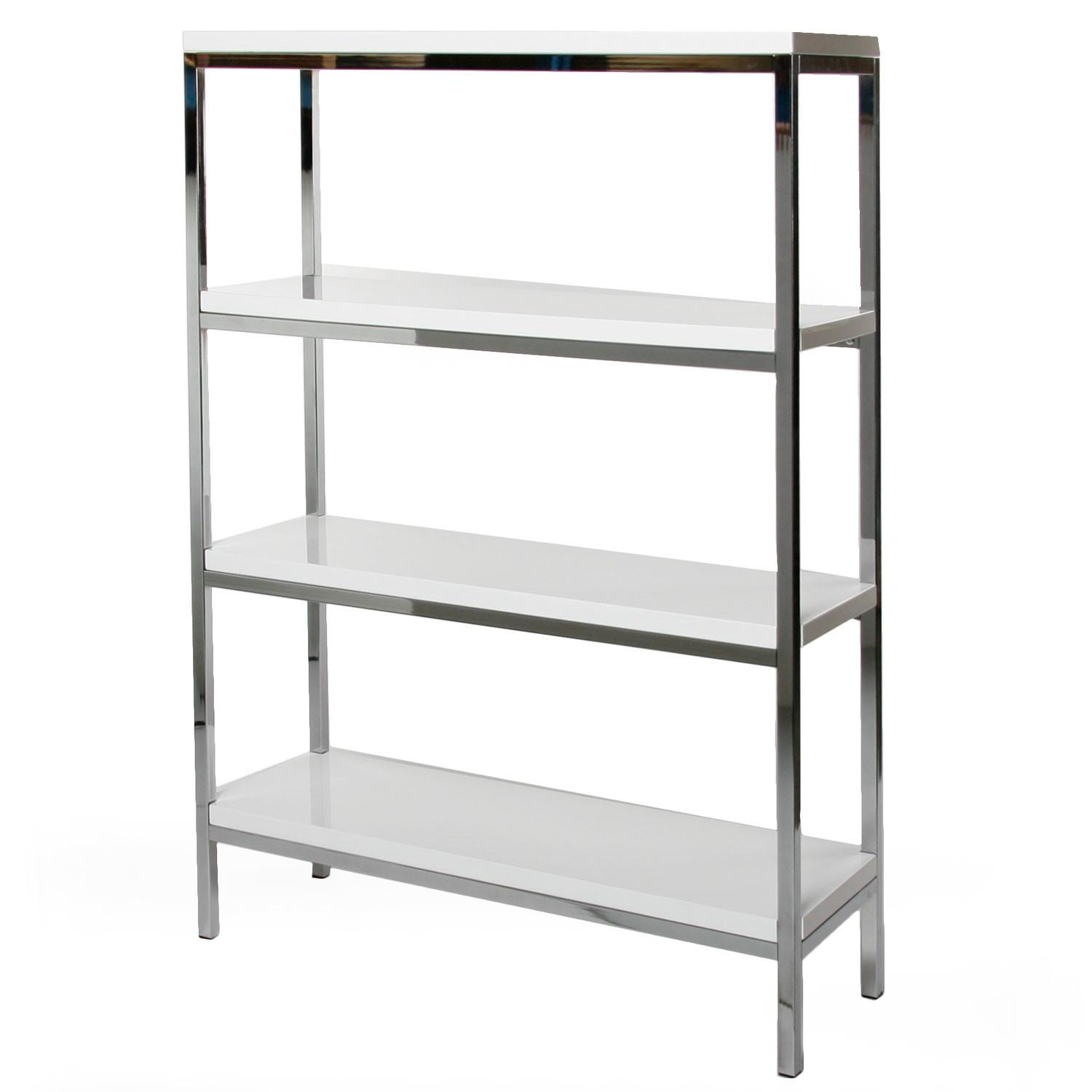 White Modern Book Case Chome Frame