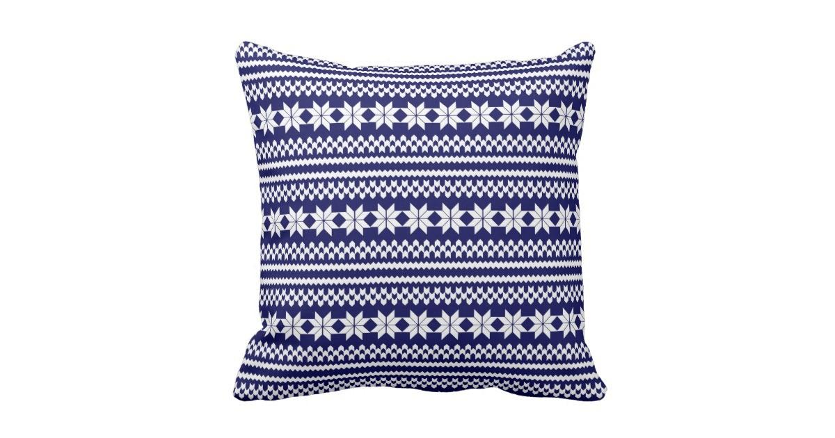 White Navy Blue Nordic Christmas Sweater Pattern Throw
